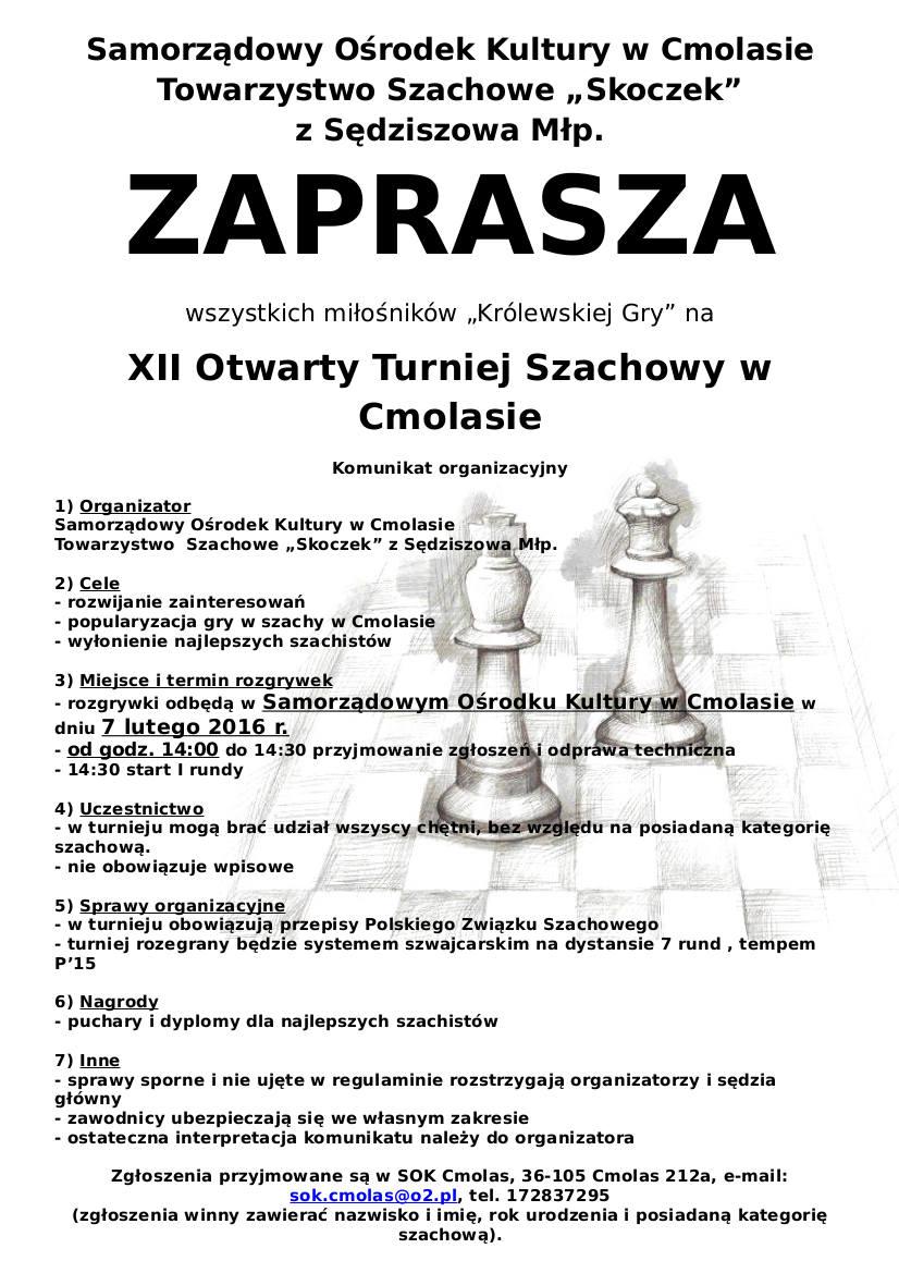 XII Otwarty Turniej Szachowy 2016
